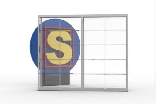 SV120x2, vitrinewand met 2 segmenten, hxbxd=200x240x40 cm