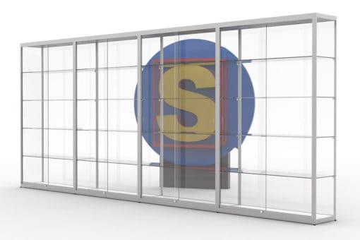 SV120x4, vitrinewand met 4 segmenten, hxbxd=200x480x40cm