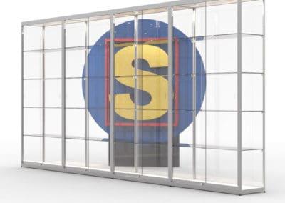 SV100x4 vitrinewand met 4 segmenten, hxbxd=200x400x40 cm