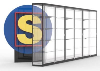 SV160x3 vitrinewand met 3 segmenten, hxbxd=200x480x40 cm